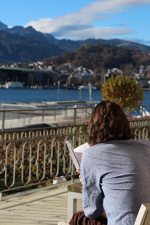 Raven reading in Lucerne
