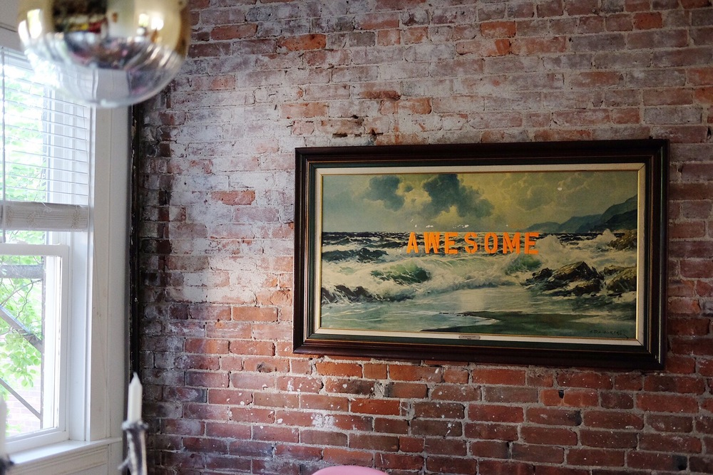 Marcie's incredible dining room with the painting she upcycled!